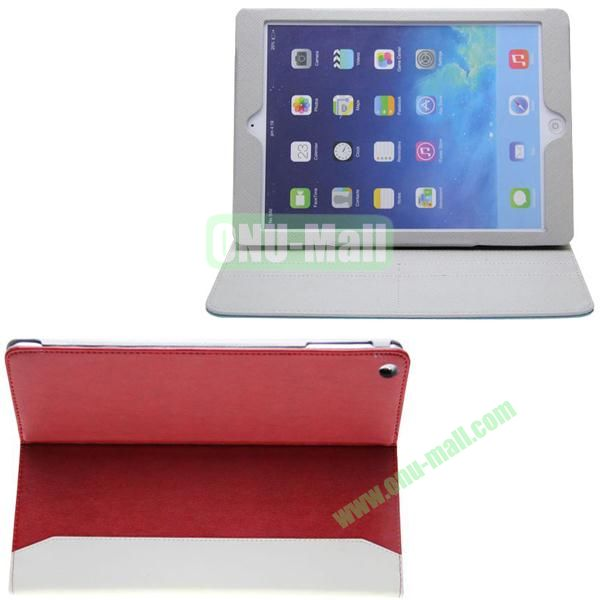 Double Color Hermes Leather Case for iPad Air with Card Slots and Holder (Red+White)