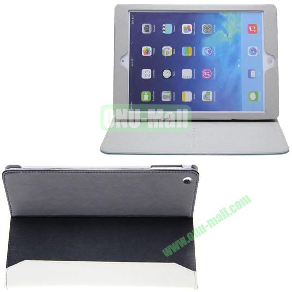 Double Color Hermes Leather Case for iPad Air with Card Slots and Holder (Black+White)