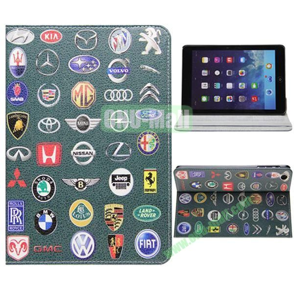 Car Badges Leather case for iPad Mini Retina with 2 Gears and Elastic Belt & Holder