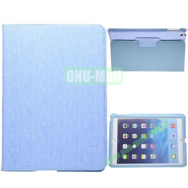 2-folding Silk Texture Leather Case for iPad Air with Holder (Blue)