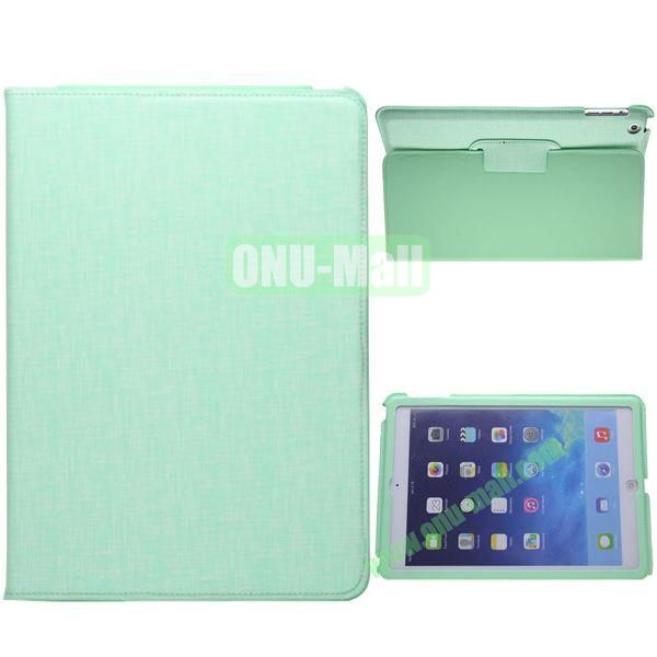 2-folding Silk Texture Leather Case for iPad Air with Holder (Green)