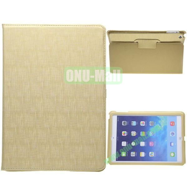 2-folding Silk Texture Leather Case for iPad Air with Holder (Yellow)