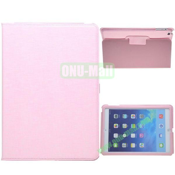 2-folding Silk Texture Leather Case for iPad Air with Holder (Pink)