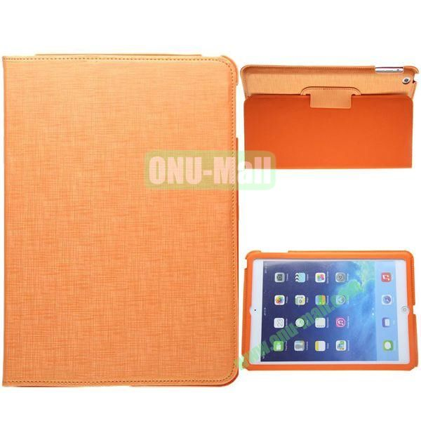 2-folding Silk Texture Leather Case for iPad Air with Holder (Orange)