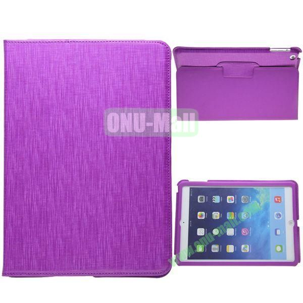 2-folding Silk Texture Leather Case for iPad Air with Holder (Purple)