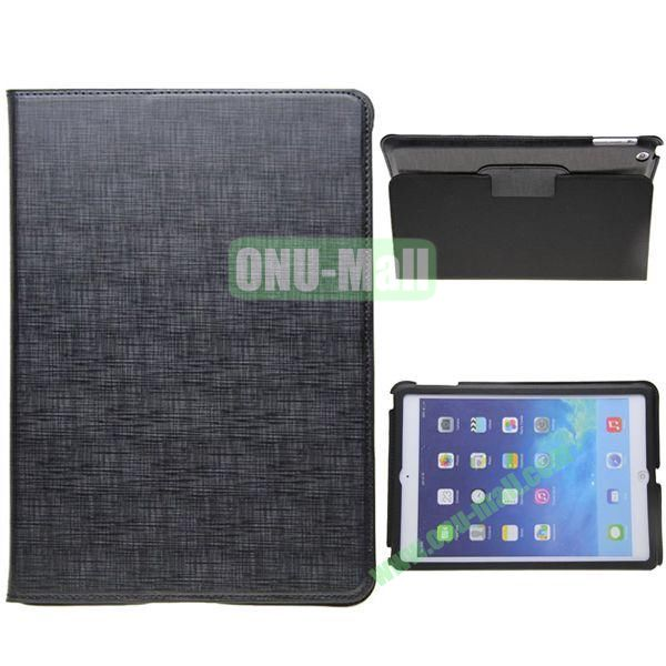 2-folding Silk Texture Leather Case for iPad Air with Holder (Black)