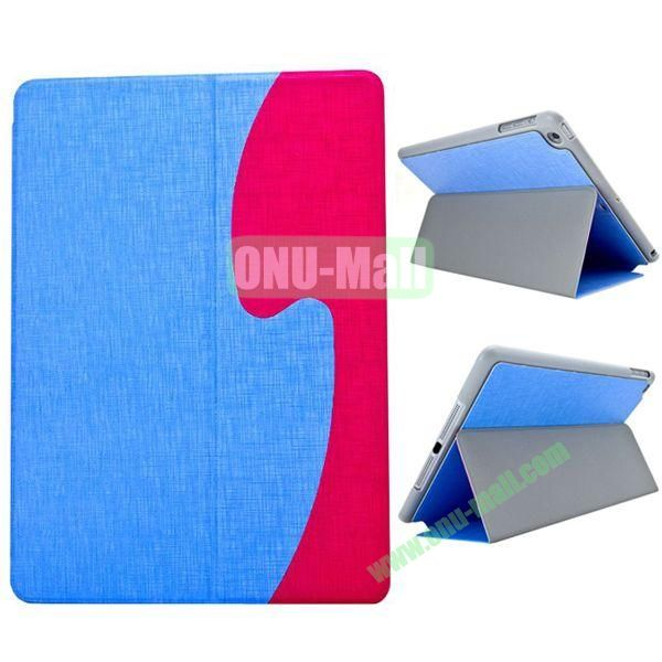 S Shaped Oracle Texture Leather Case for iPad Air with Holder (Blue + Magenta)