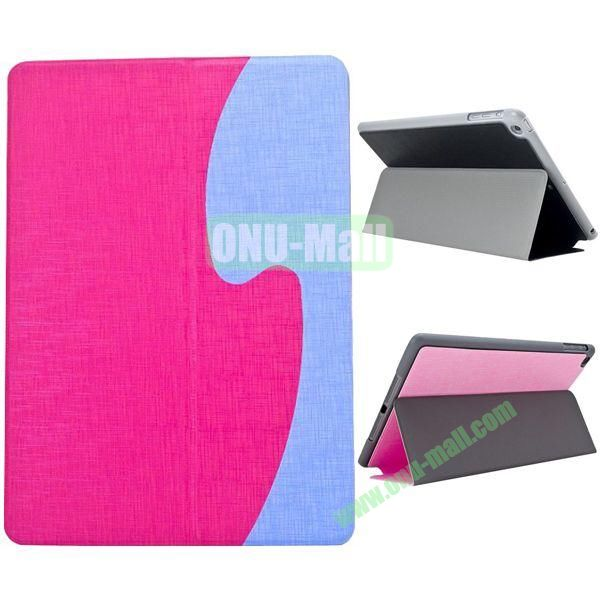 S Shaped Oracle Texture Leather Case for iPad Air with Holder (Magenta + Blue)