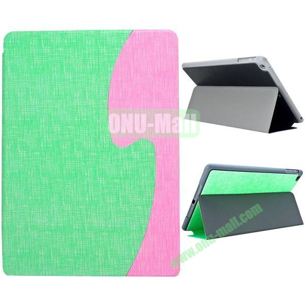 S Shaped Oracle Texture Leather Case for iPad Air with Holder (Green + Pink)