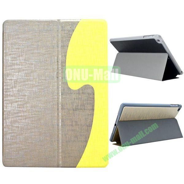 S Shaped Oracle Texture Leather Case for iPad Air with Holder (Grey+ Yellow)