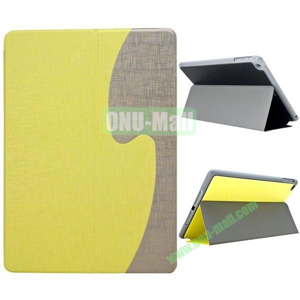 S Shaped Oracle Texture Leather Case for iPad Air with Holder (Yellow + Grey)