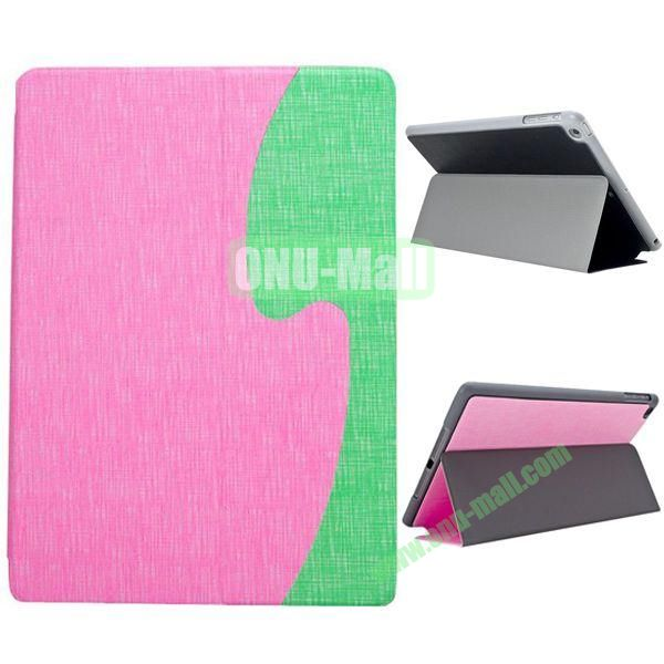 S Shaped Oracle Texture Leather Case for iPad Air with Holder (Pink + Green)