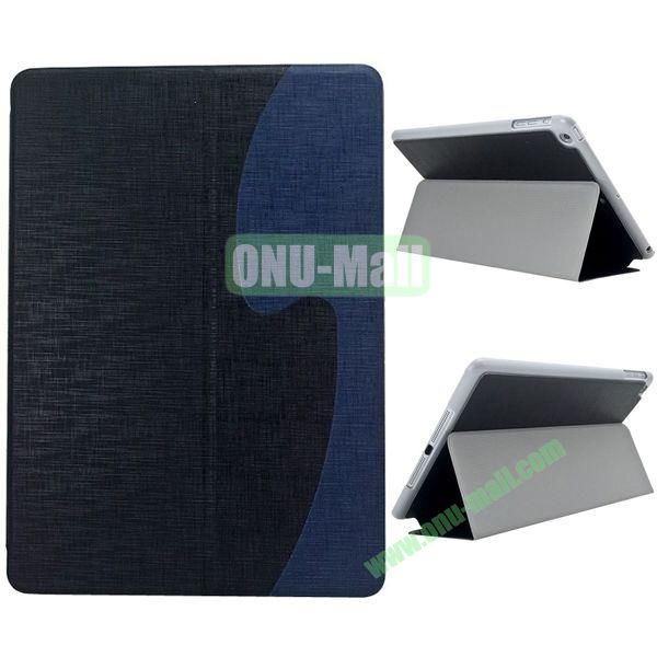 S Shaped Oracle Texture Leather Case for iPad Air with Holder (Black + Blue)