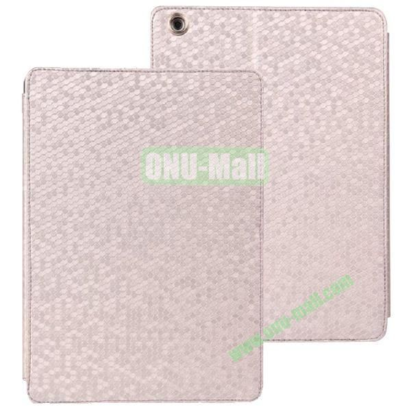Diamond Grid Pattern Leather Case for iPad Air with Holder (Silver)