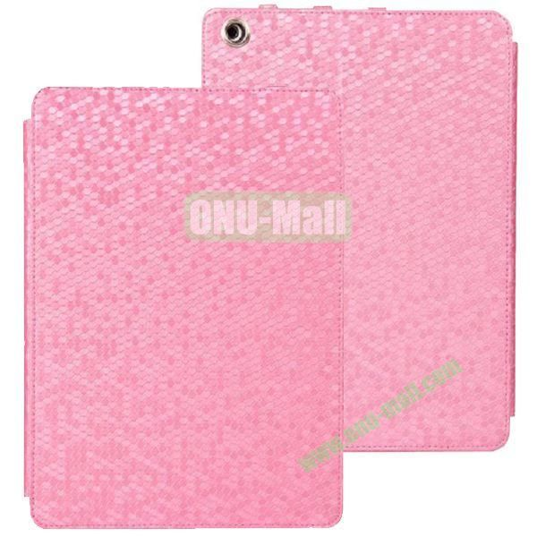 Diamond Grid Pattern Leather Case for iPad Air with Holder (Pink)