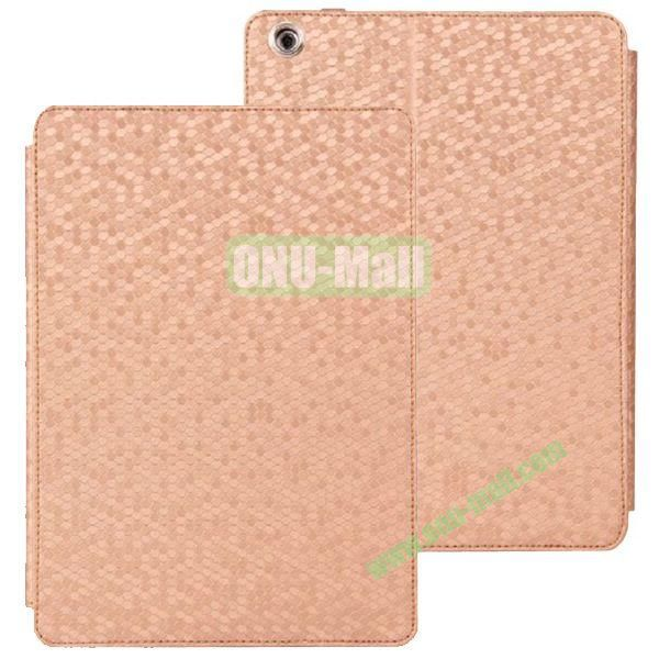 Diamond Grid Pattern Leather Case for iPad Air with Holder (Light Brown)