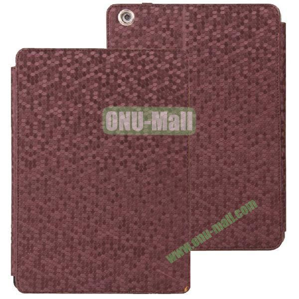 Diamond Grid Pattern Leather Case for iPad Air with Holder (Dark Brown)