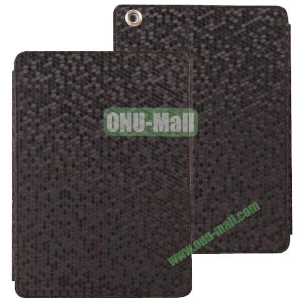 Diamond Grid Pattern Leather Case for iPad Air with Holder (Black)