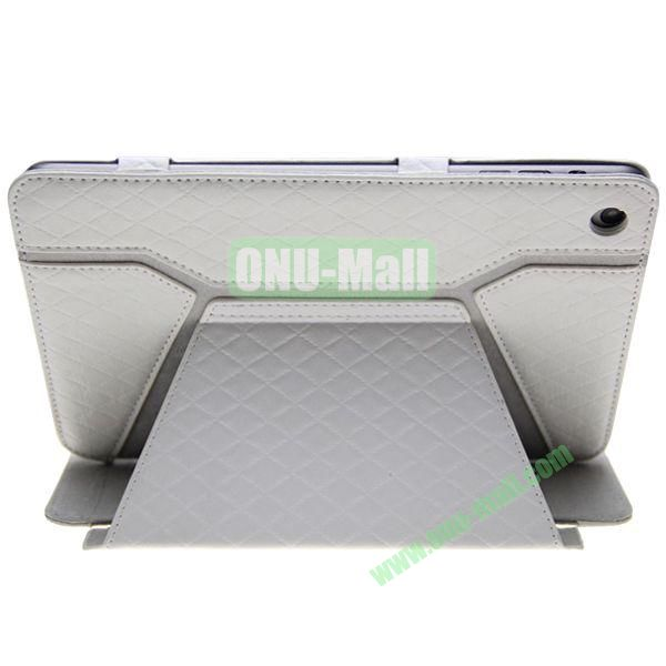 Grid Pattern Shine Leather Case for iPad Mini with Stand (White)