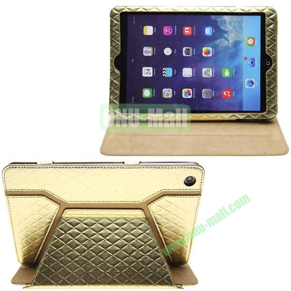 Grid Pattern Shine Leather Case for iPad Mini with Stand (Golden)