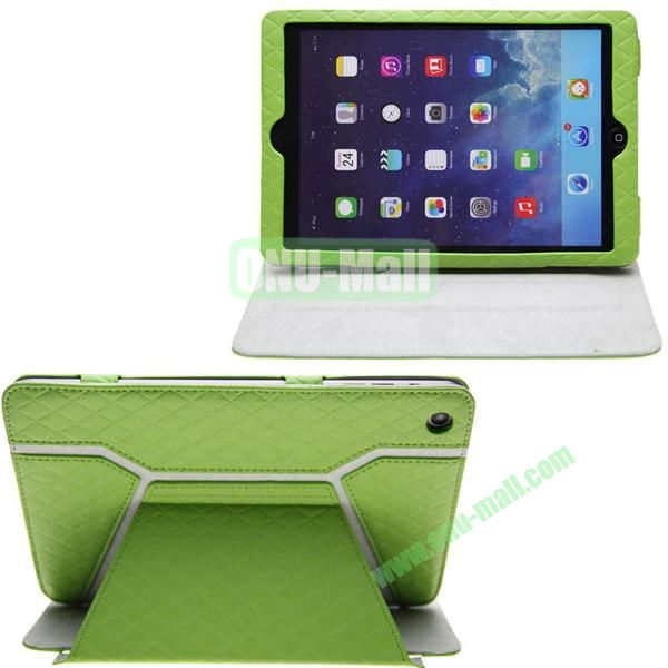 Grid Pattern Shine Leather Case for iPad Mini with Stand (Green)