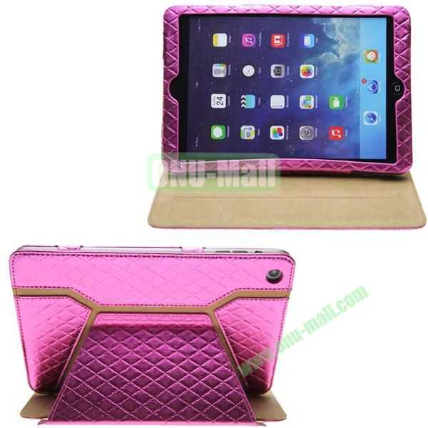 Grid Pattern Shine Leather Case for iPad Mini with Stand (Pink)