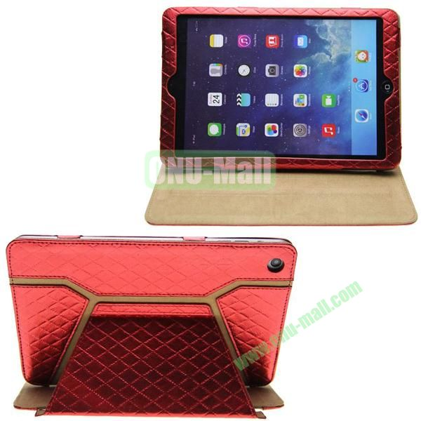 Grid Pattern Shine Leather Case for iPad Mini with Stand (Red)