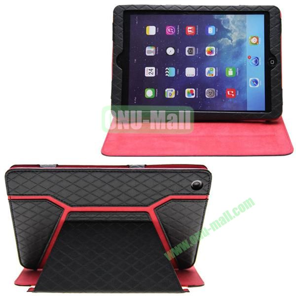 Grid Pattern Shine Leather Case for iPad Mini with Stand (Black)