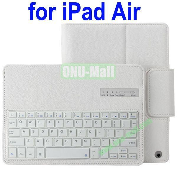 Removable Bluetooth Keyboard Leather Case for iPad Air with Holder (White)