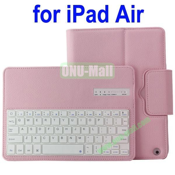 Removable Bluetooth Keyboard Leather Case for iPad Air with Holder (Pink)