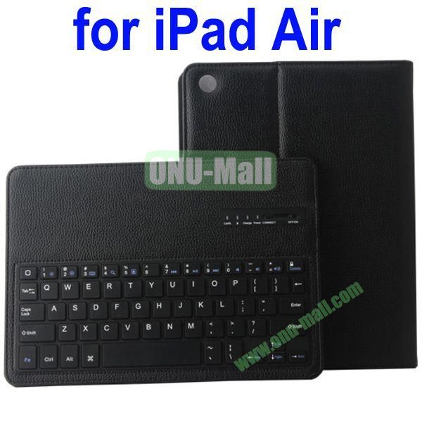 Removable Bluetooth Keyboard Leather Case for iPad Air with Holder (Black)