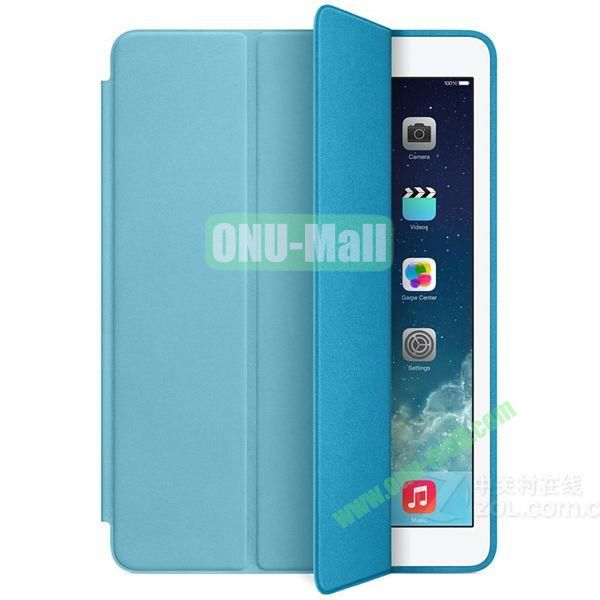 Official 3-folding Smart Case for iPad Air With Holder (Blue)