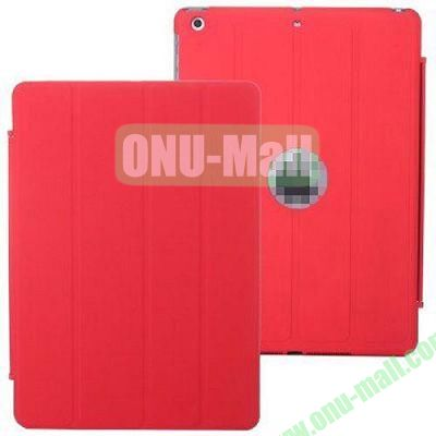 4-folding PU Material Smart Case for iPad Mini Retina  iPad Mini 2  iPad Mini 3 With Holder (Red)