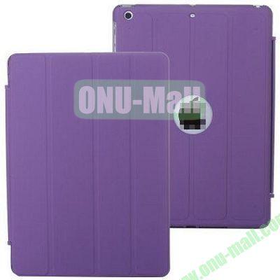 4-folding PU Material Smart Case for iPad Mini Retina  iPad Mini 2  iPad Mini 3 With Holder (Purple)