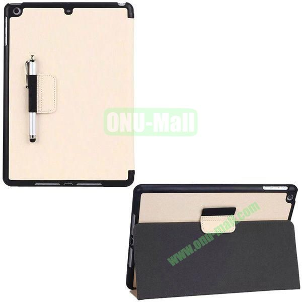 2-folding Denim Texture Leather Case for iPad Air with Holder Pen (White)