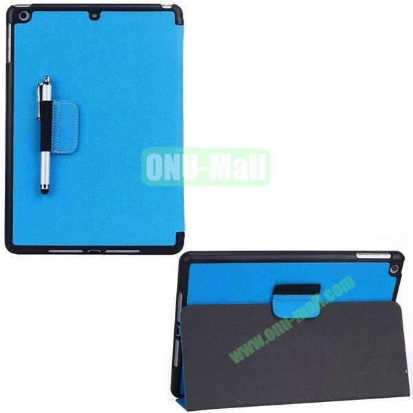 2-folding Denim Texture Leather Case for iPad Air with Holder Pen (Blue)