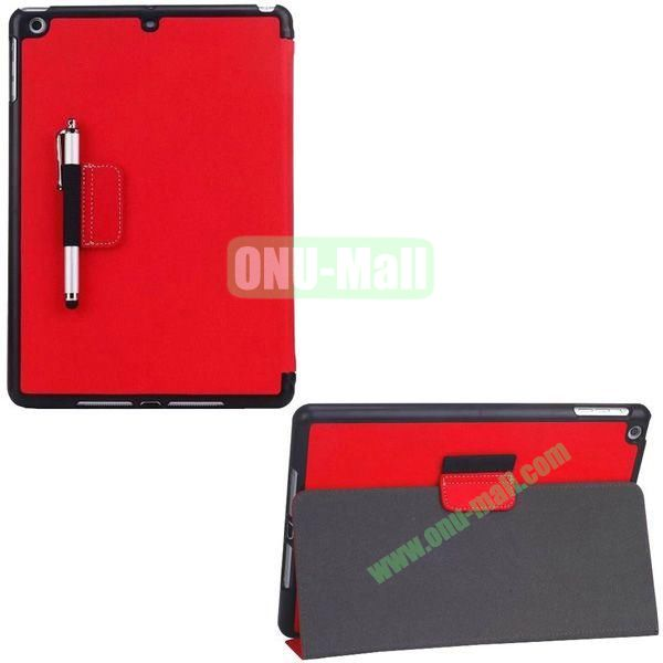 2-folding Denim Texture Leather Case for iPad Air with Holder Pen (Red)