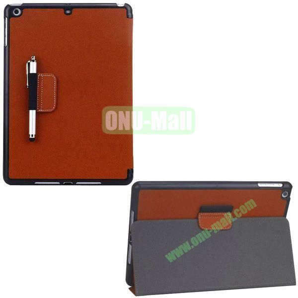 2-folding Denim Texture Leather Case for iPad Air with Holder Pen (Brown)