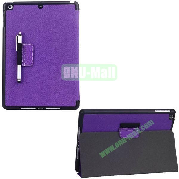 2-folding Denim Texture Leather Case for iPad Air with Holder Pen (Purple)