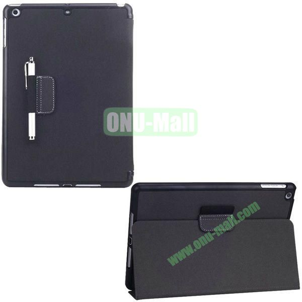 2-folding Denim Texture Leather Case for iPad Air with Holder Pen (Black)