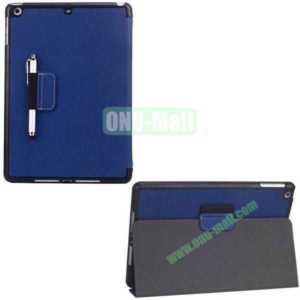 2-folding Denim Texture Leather Case for iPad Air with Holder Pen (Dark Blue)