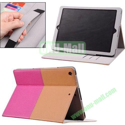2014 New Arrival Double Colors PU Leather Case for iPad Air with Armband and Stand (Brown+Pink)