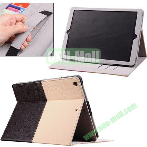 2014 New Arrival Double Colors PU Leather Case for iPad Air with Armband and Stand (White+Black)