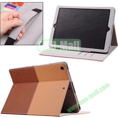 2014 New Arrival Double Colors PU Leather Case for iPad Air with Armband and Stand (Brown+yellow)
