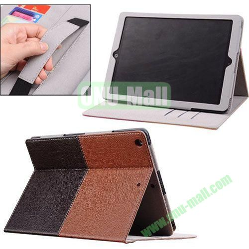 2014 New Arrival Double Colors PU Leather Case for iPad Air with Armband and Stand (Brown+Black)