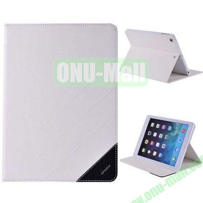 High Quality PU Leather Case for iPad Air with Stand (White)