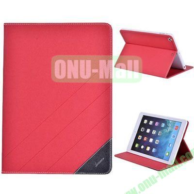High Quality PU Leather Case for iPad Air with Stand (Red)