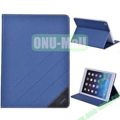 High Quality PU Leather Case for iPad Air with Stand (Blue)