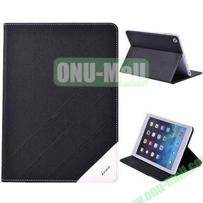 High Quality PU Leather Case for iPad Air with Stand (Black)
