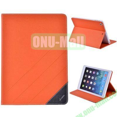 High Quality PU Leather Case for iPad Air with Stand (Orange)